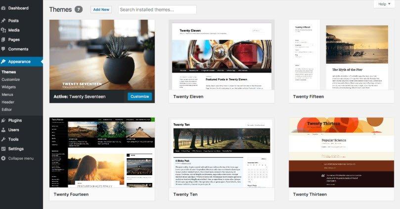 Wordpress dashboard - thema's